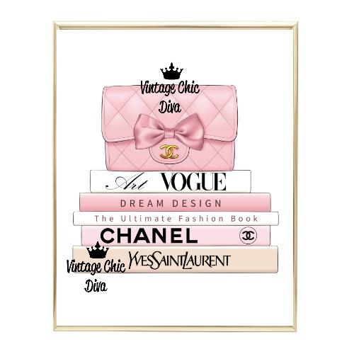 Blush Chanel Handbag Fashion Book Set2 Wh Bg-