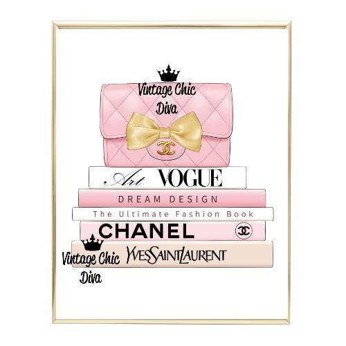 Blush Chanel Handbag Fashion Book Set3 Wh Bg-