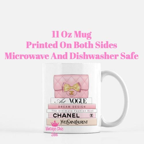 Blush Chanel Handbag Fashion Book Set4 Coffee Mug-