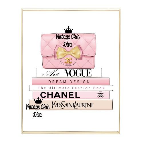 Blush Chanel Handbag Fashion Book Set4 Wh Bg-