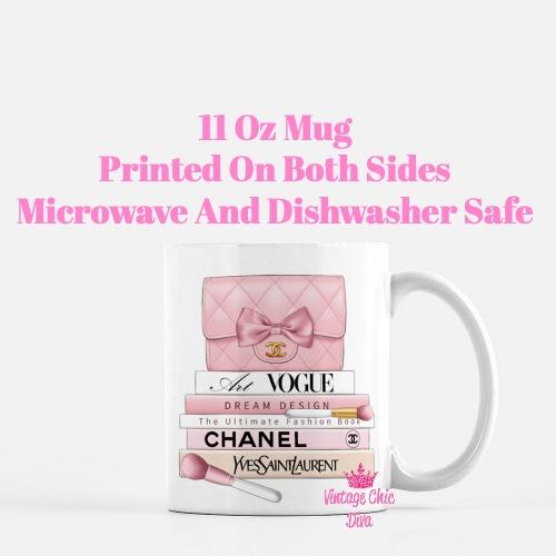 Blush Chanel Handbag Fashion Book Set7 Coffee Mug-