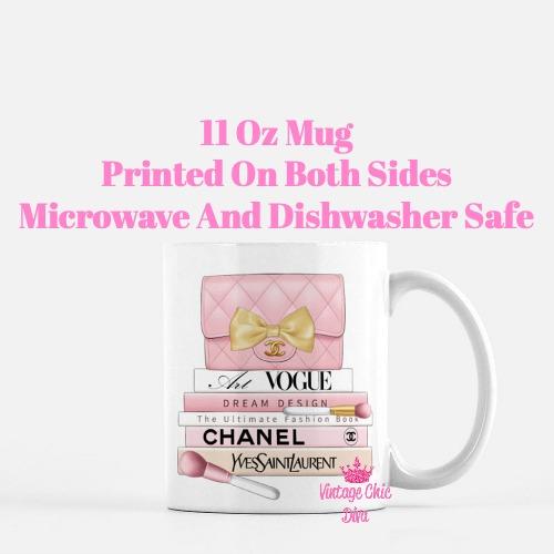 Blush Chanel Handbag Fashion Book Set8 Coffee Mug-
