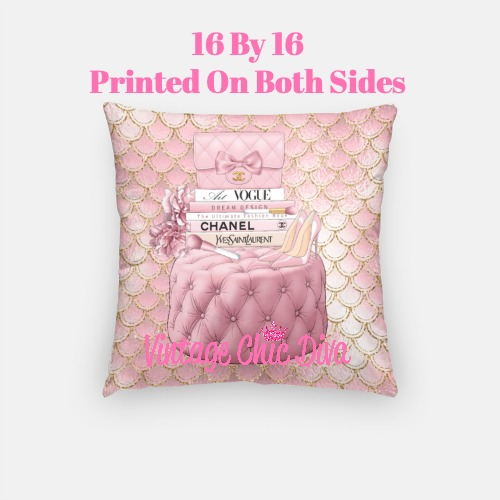 Blush Chanel Handbag Set11 Pillow Case-