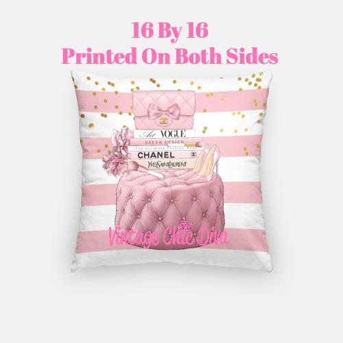 Blush Chanel Handbag Set12 Pillow Case-