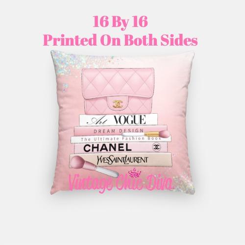 Blush Chanel Handbag Set2 Pillow Case-