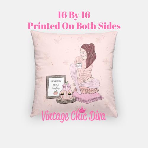 Blush Fall Girl12 Pillow Case-