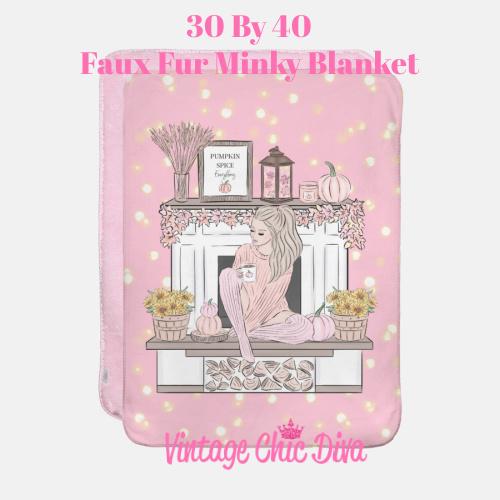 Blush Fall Girl1 Blanket-