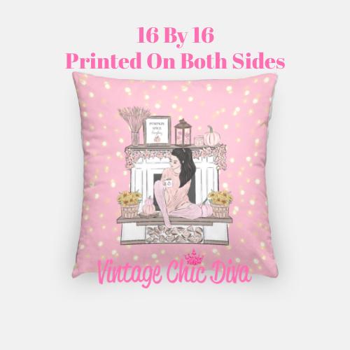Blush Fall Girl8 Pillow Case-