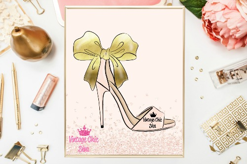 Blush Gold Heels Blush Diamond Background-