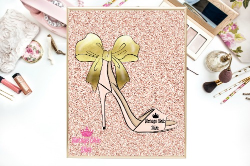 Blush Gold Heels Blush Glitter Background-