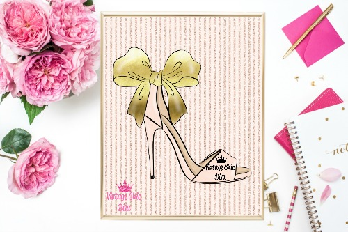 Blush Gold Heels Blush Glitter Stripe Background-