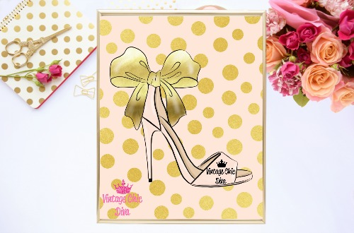 Blush Gold Heels Blush Gold Dots Background-