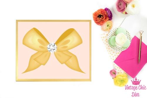 Blush Pink Gold Bow Diamond-