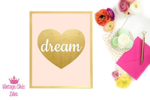 Blush Pink Gold Heart Dream-