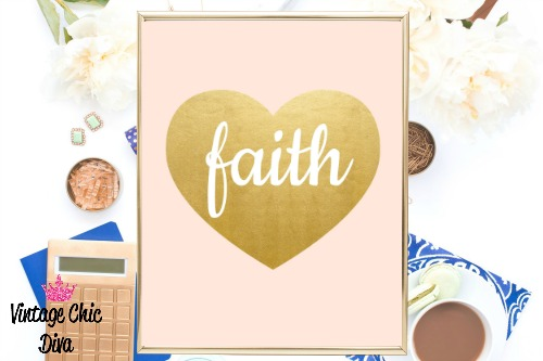 Blush Pink Gold Heart Faith-
