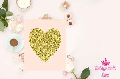 Blush Pink Gold Heart Glitter-