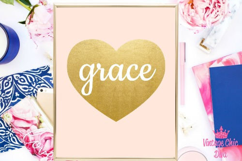 Blush Pink Gold Heart Grace-