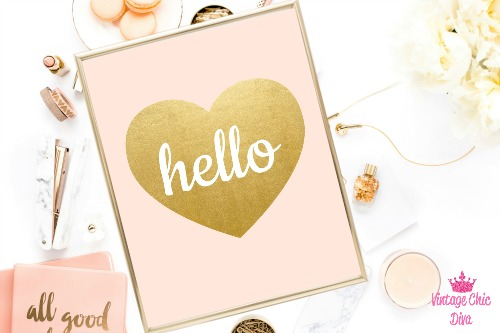 Blush Pink Gold Heart Hello-