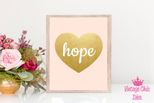 Blush Pink Gold Heart Hope-