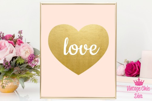 Blush Pink Gold Heart Love-