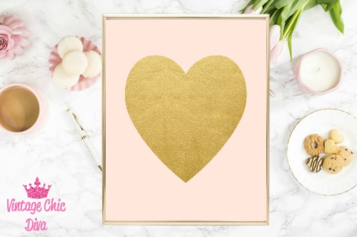 Blush Pink Gold Heart-