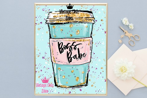 Boss Babe Cup Blue Glitter Dots Background-