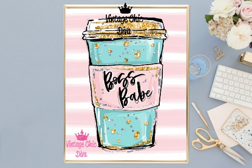 Boss Babe Cup Pink White Background-