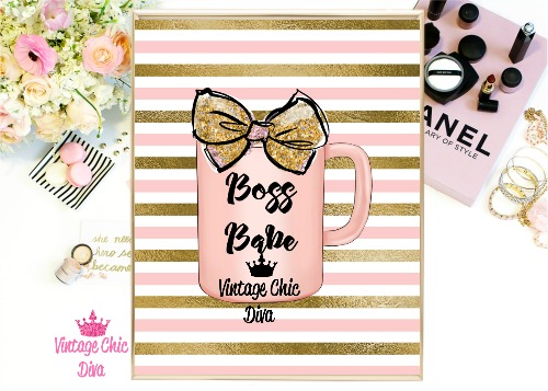 Boss Babe Mug Peach Pink Gold Stripe Background-