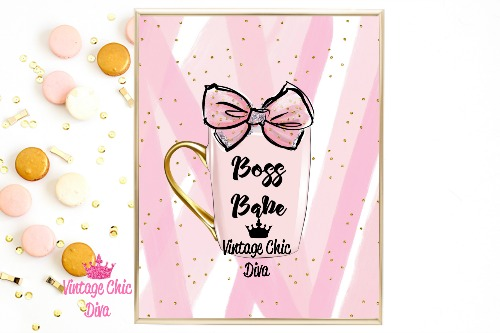 Boss Babe Mug Pink Pink Gold Dots Background-