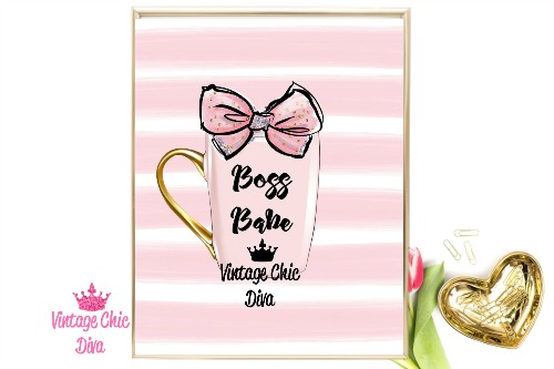 Boss Babe Mug Pink Pink White Stripe Background-