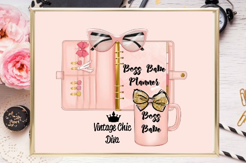 Boss Babe Planner Set Peach Blush Background-
