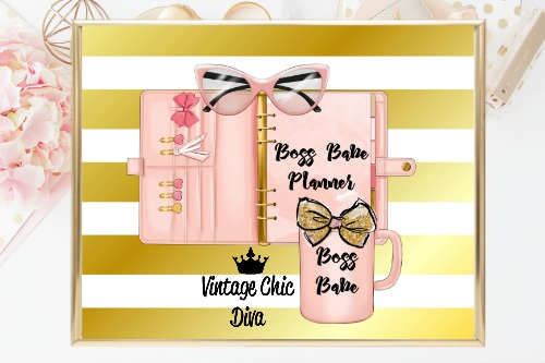 Boss Babe Planner Set Peach Gold White Background-