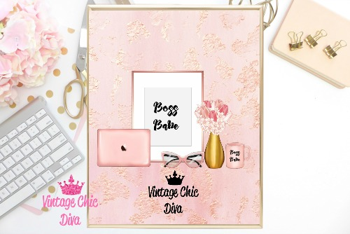 Boss Babe Set Blush Glitter Background-