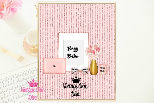 Boss Babe Set Blush Glitter Stripe Background-