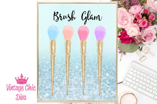 Brush Glam Blue Glitter Background-