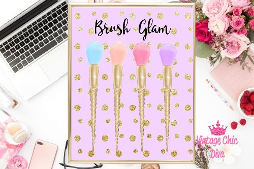 Brush Glam Purple Gold Dots Background-
