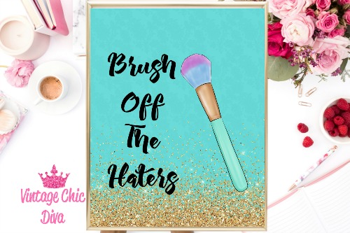 Brush Off The Haters Teal Gold Glitter Background-