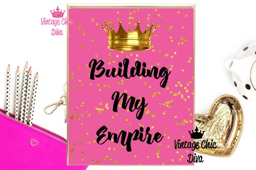 Building My Empire Crown Bright Pink Gold Dots Background-