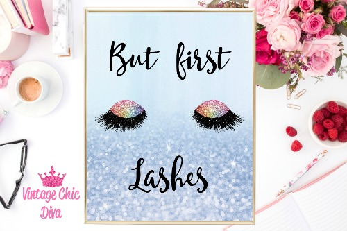 But First Lashes Unicorn Eye Blue Glitter Background-
