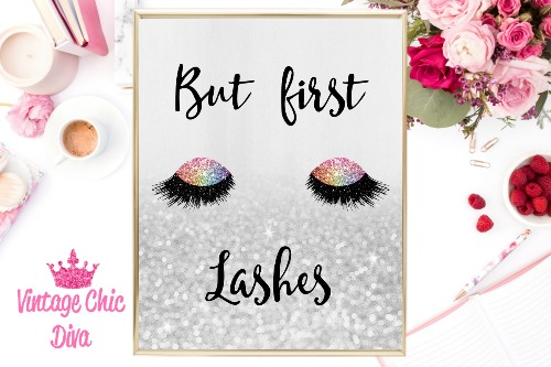 But First Lashes Unicorn Eye Silver Glitter Background-