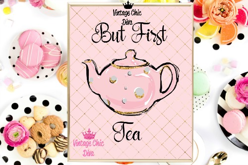 But First Tea Pink Gold Lattice Background-