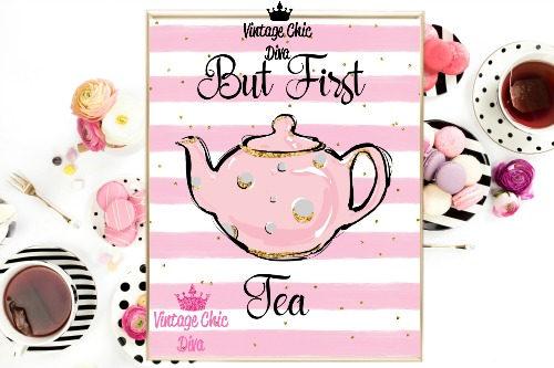 But First Tea Pink White Gold Dots Background-