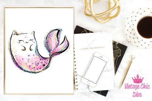 Cat Mermaid Pink White Background-