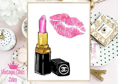 Chanel Pink Lipstick Pink Lips White Background-
