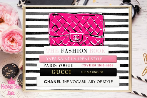 Chanel Pink Purse Books Black White Stripes Background-