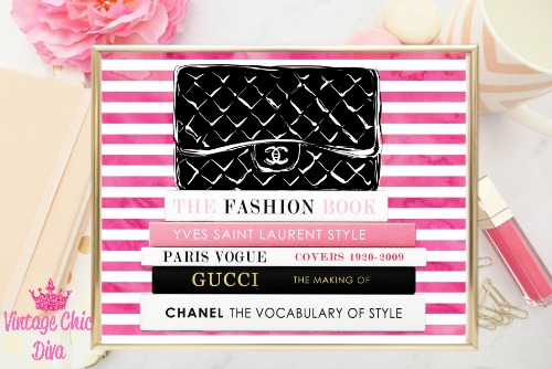 Chanel Black Purse Books Pink White Stripes Background-