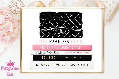 Chanel Black Purse Books White Background-