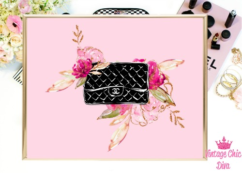 Chanel Black Purse Floral Pink Background-