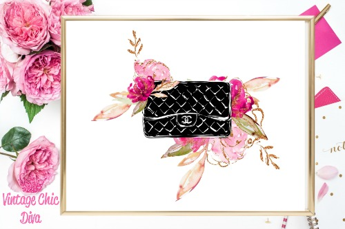 Chanel Black Purse Floral White Background-
