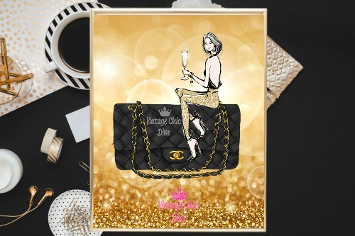 Chanel Black Purse Girl Gold Bokeh Background-